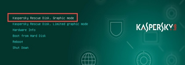 Giao diện chọn Graphic Mode của Kaspersky Rescue Disk